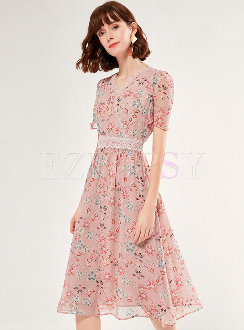 Floral Patchwork V-neck Chiffon Skater Dress