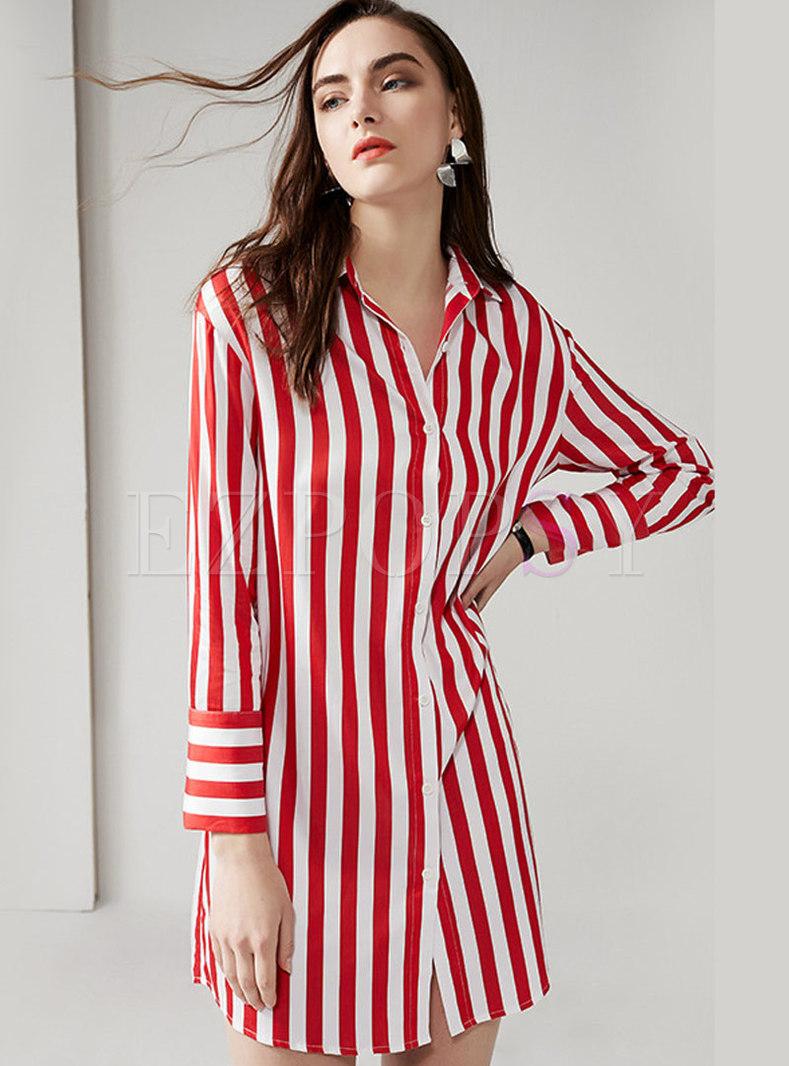 Striped Lapel Button-front Shirt Dress
