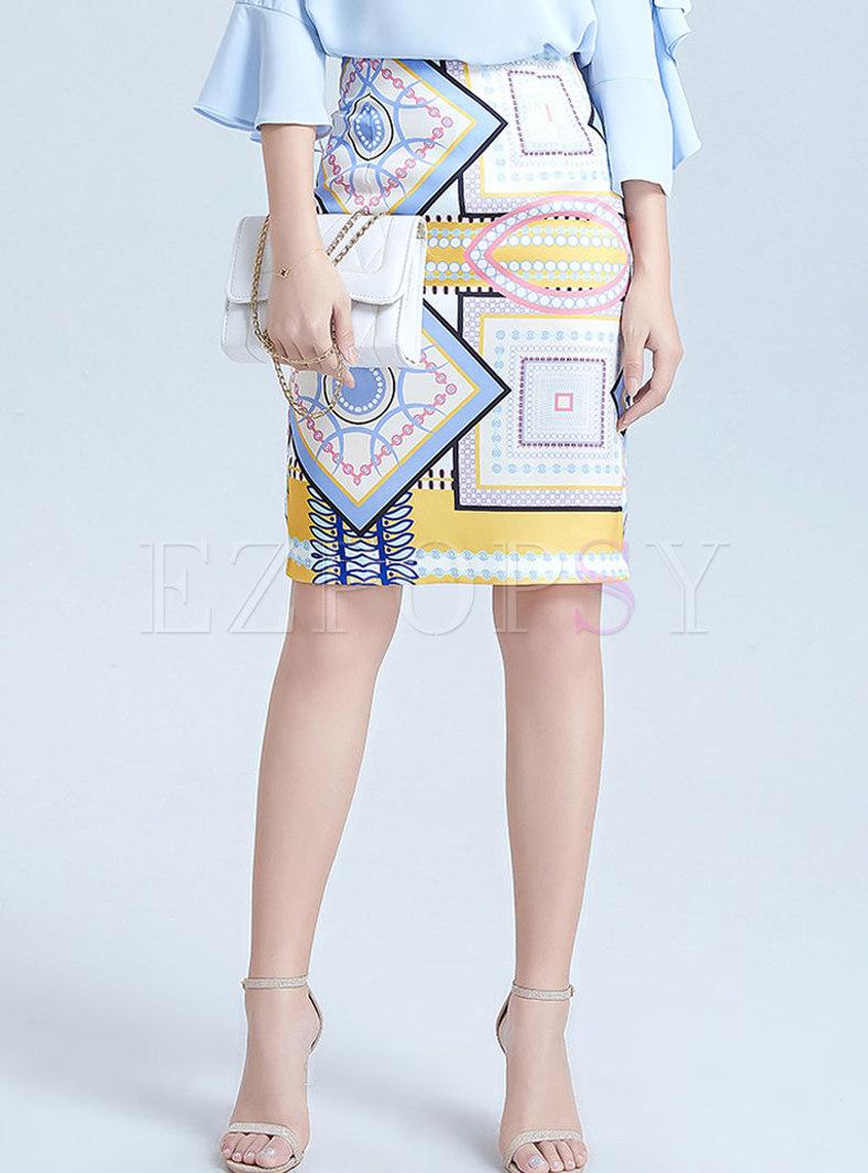 Geometric Print Zipper Pencil Skirt