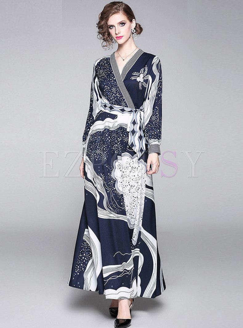 Vintage Print Cross V-neck Tied Maxi Dress