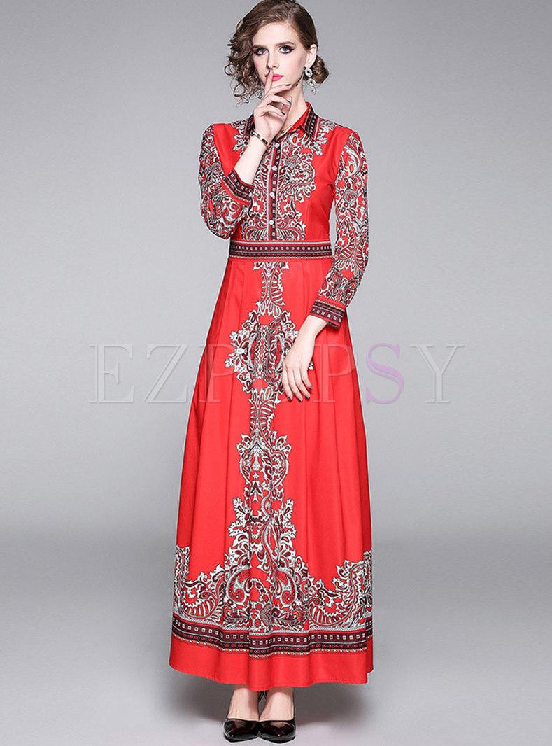 Retro Print Long Sleeve Empire Waist Maxi Dress