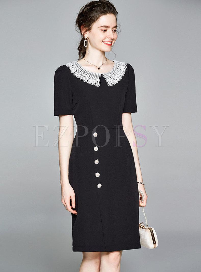 Elegant Patchwork Black Bodycon Dress