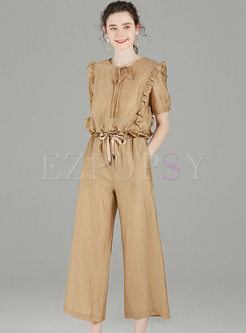 Crew Neck Ruffle Cropped Wide Leg Pant Suits