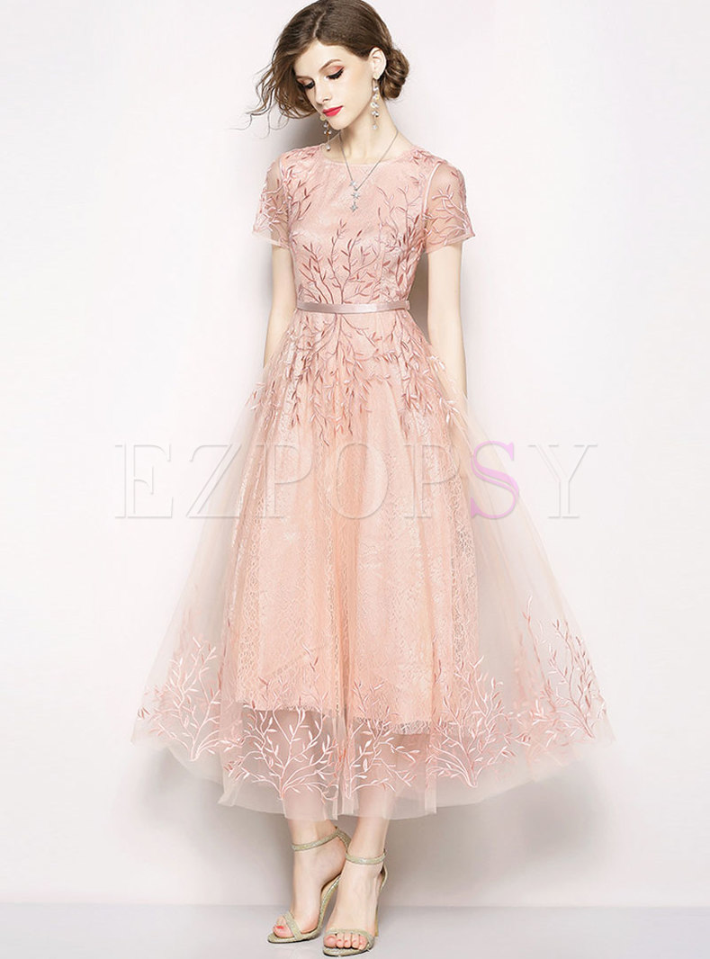 Cute Mesh Embroidered Long Party Bridesmaid Dress