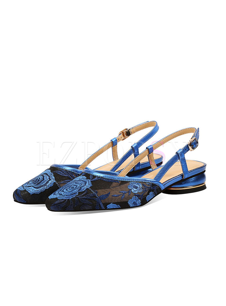 Closed Toe Mesh Embroidered Sandals