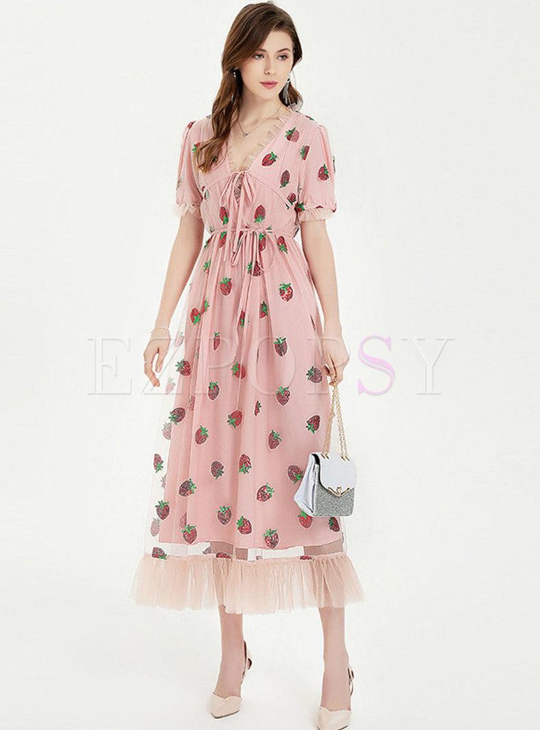 Sweet Mesh Patchwork V-neck Ruffle Maxi Dress