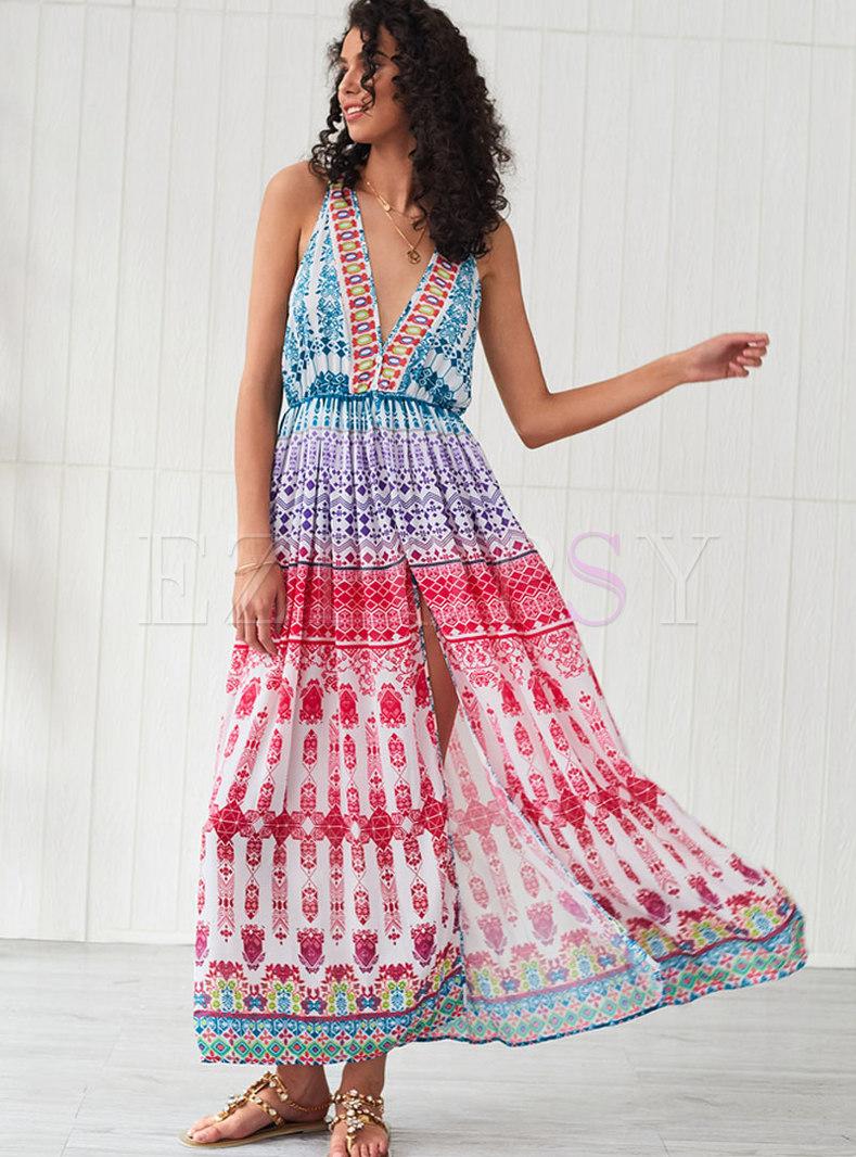 Bohemia V-neck Sleeveless Slit Beach Maxi Dress