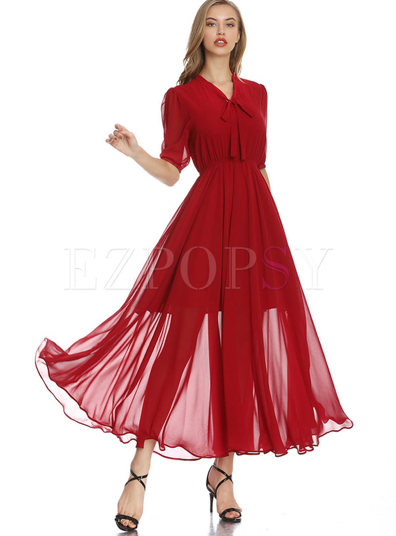 Elastic Waist Bowknot Big Hem Maxi Dress