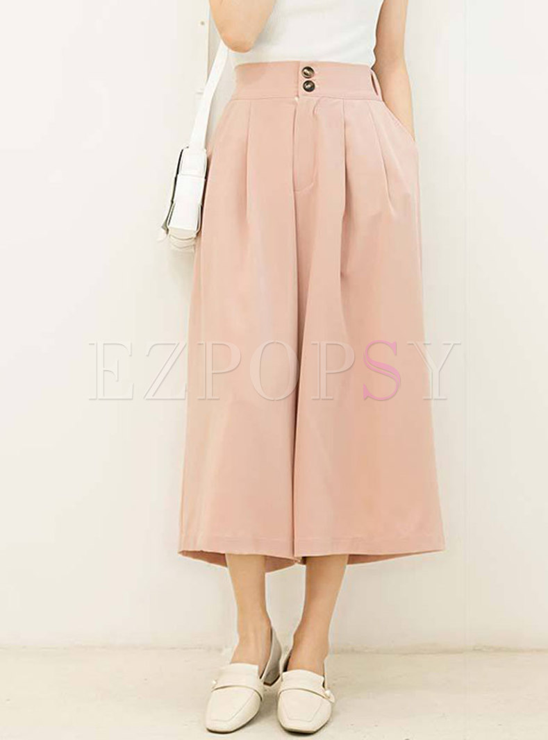 Solid Color High Waisted Cropped Palazzo Pants