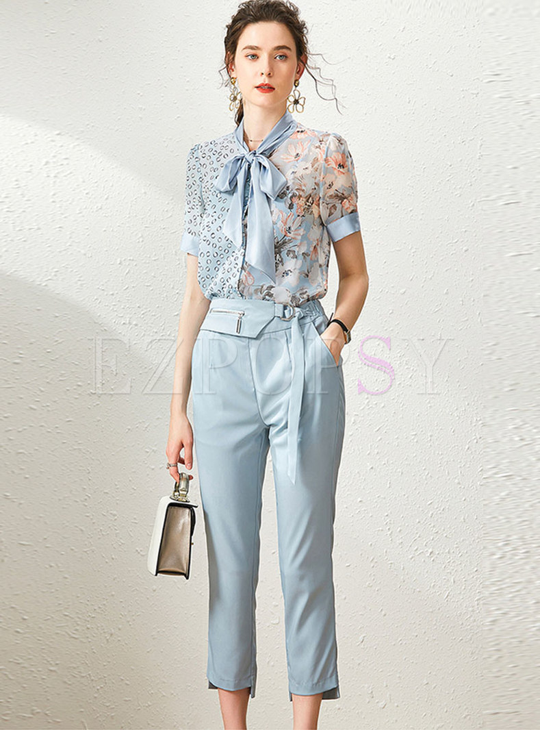 Tie-collar Print Patchwork Cropped Pant Suits