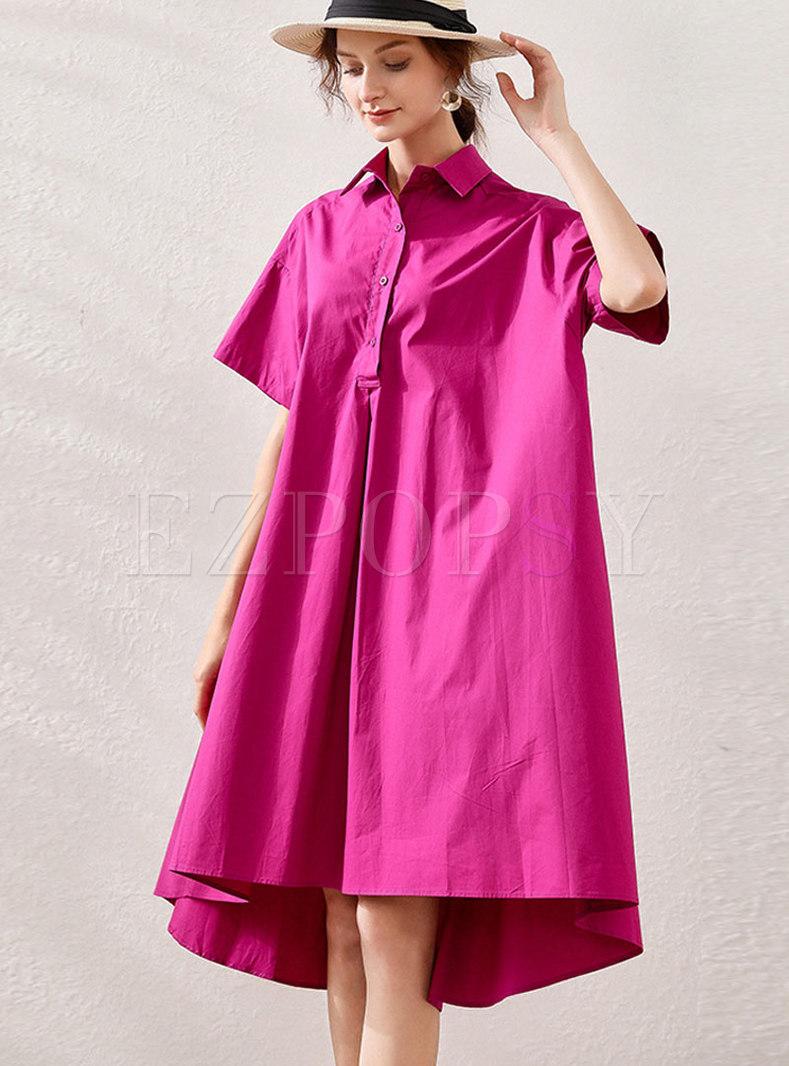 Cotton Lapel Asymmetric Shift Shirt Dress