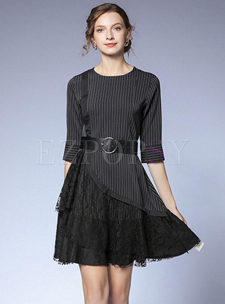 Lace Patchwork Striped Belted Skater Dress