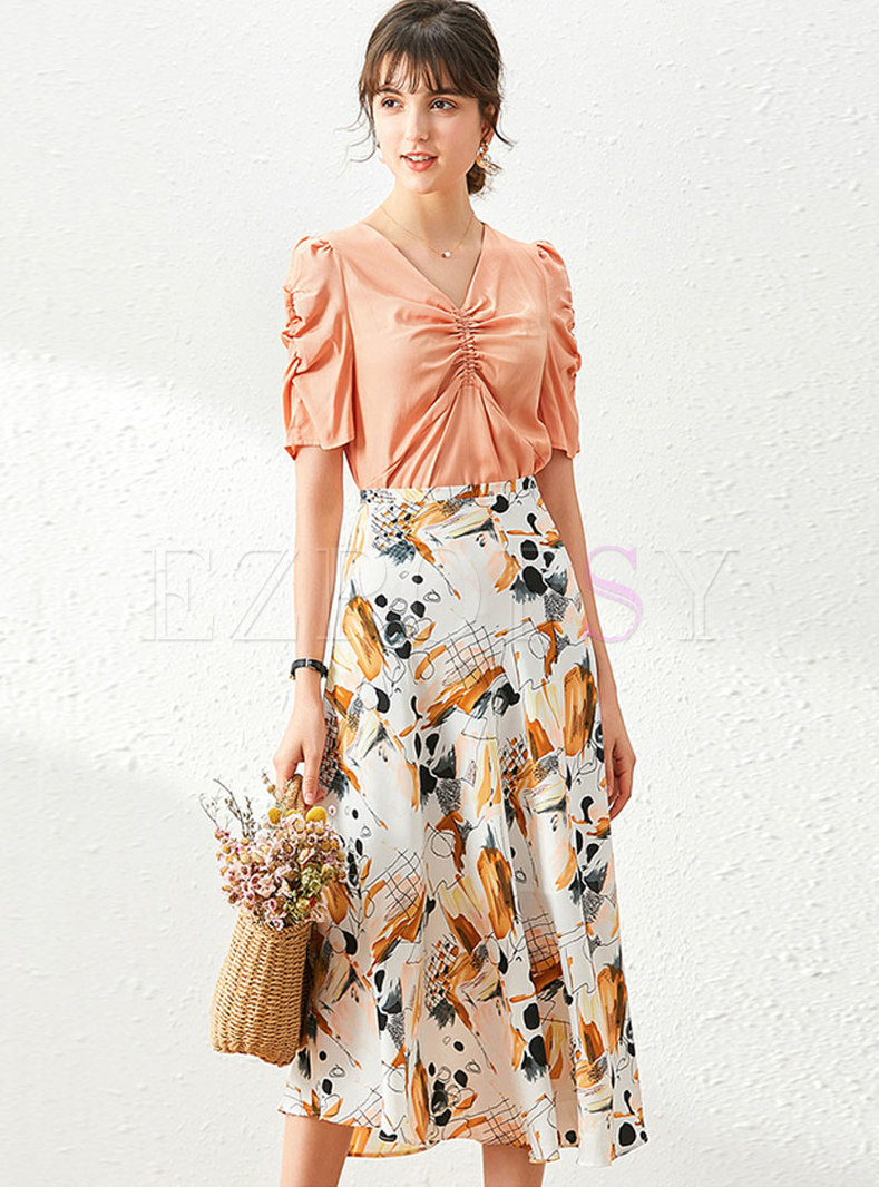 V-neck Ruched Slim Top & Print A-line Skirt