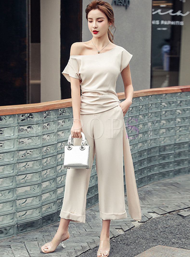 Slash Neck Tied Slim Pant Suits