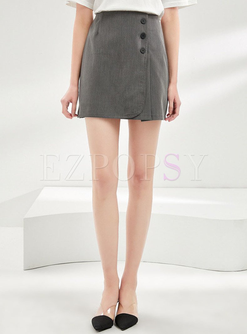 Solid Color Zipper Office Bodycon Skirt