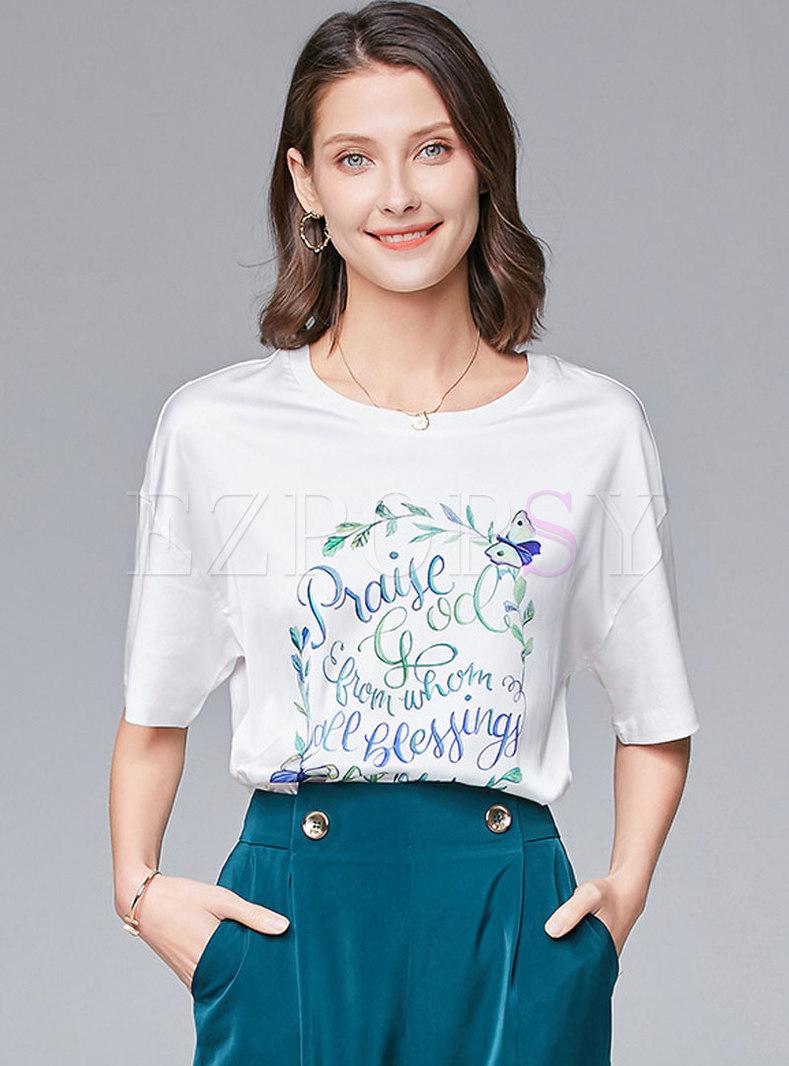 Crew Neck Letter Print Silk T-shirt
