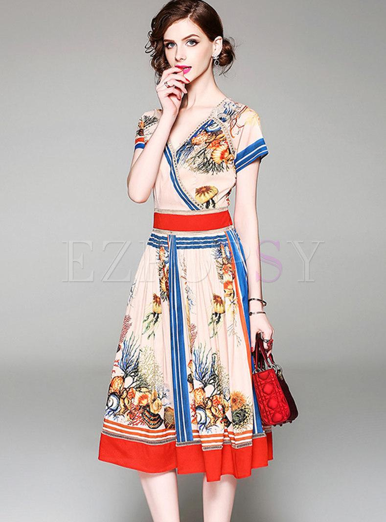 Satin Print V-neck Pleated Skater Dress