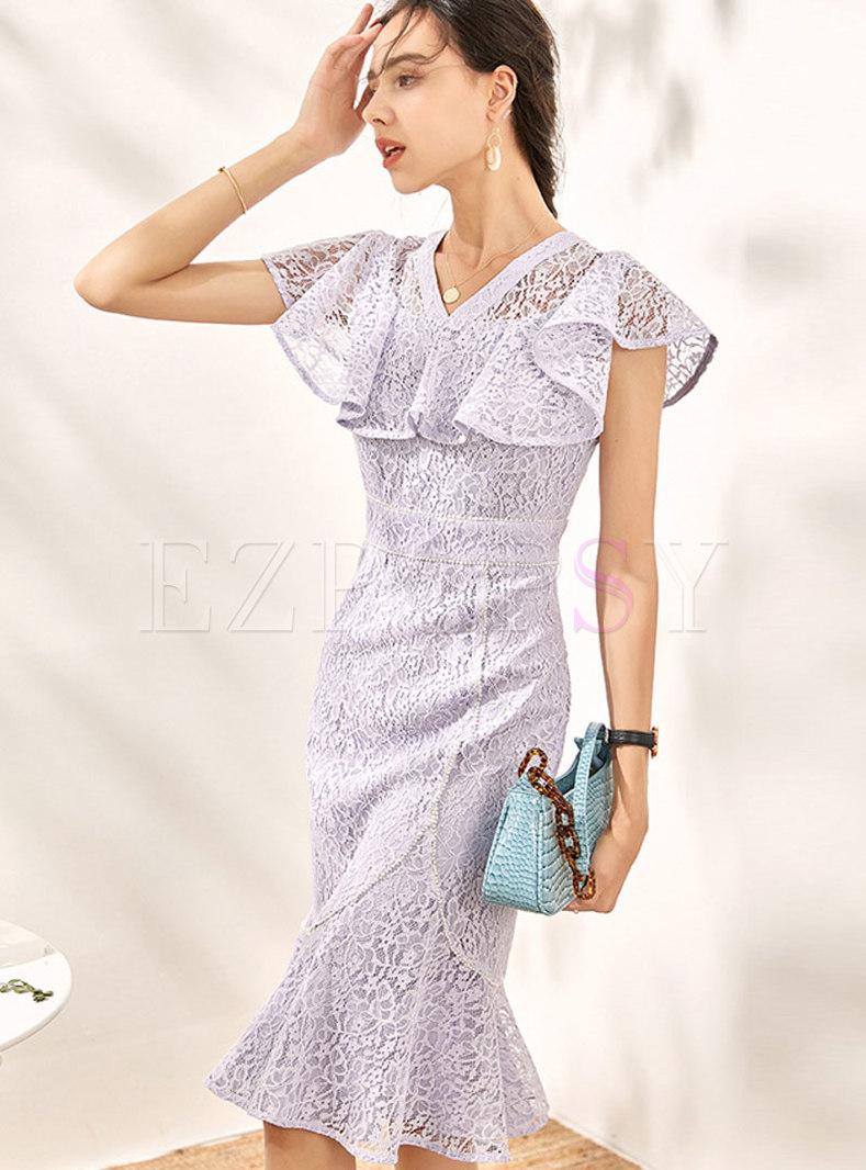 Lace V-neck Flare Sleeve Ruffle Peplum Dress