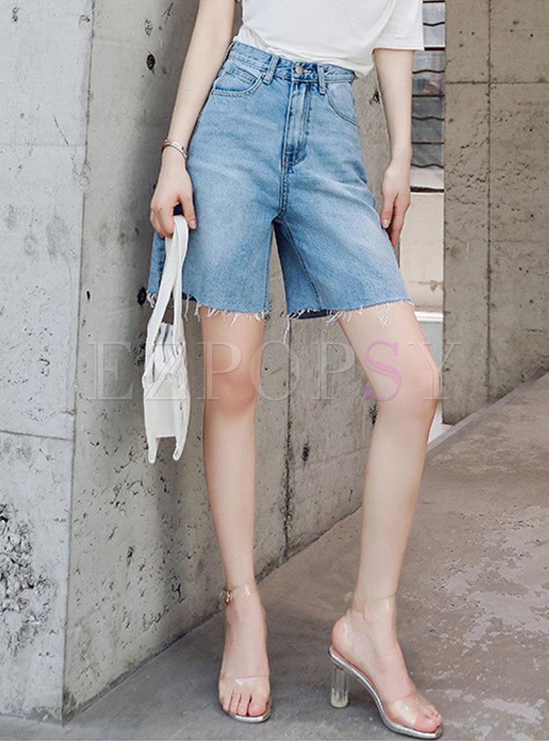 Casual Denim Rough Selvedge Straight Shorts