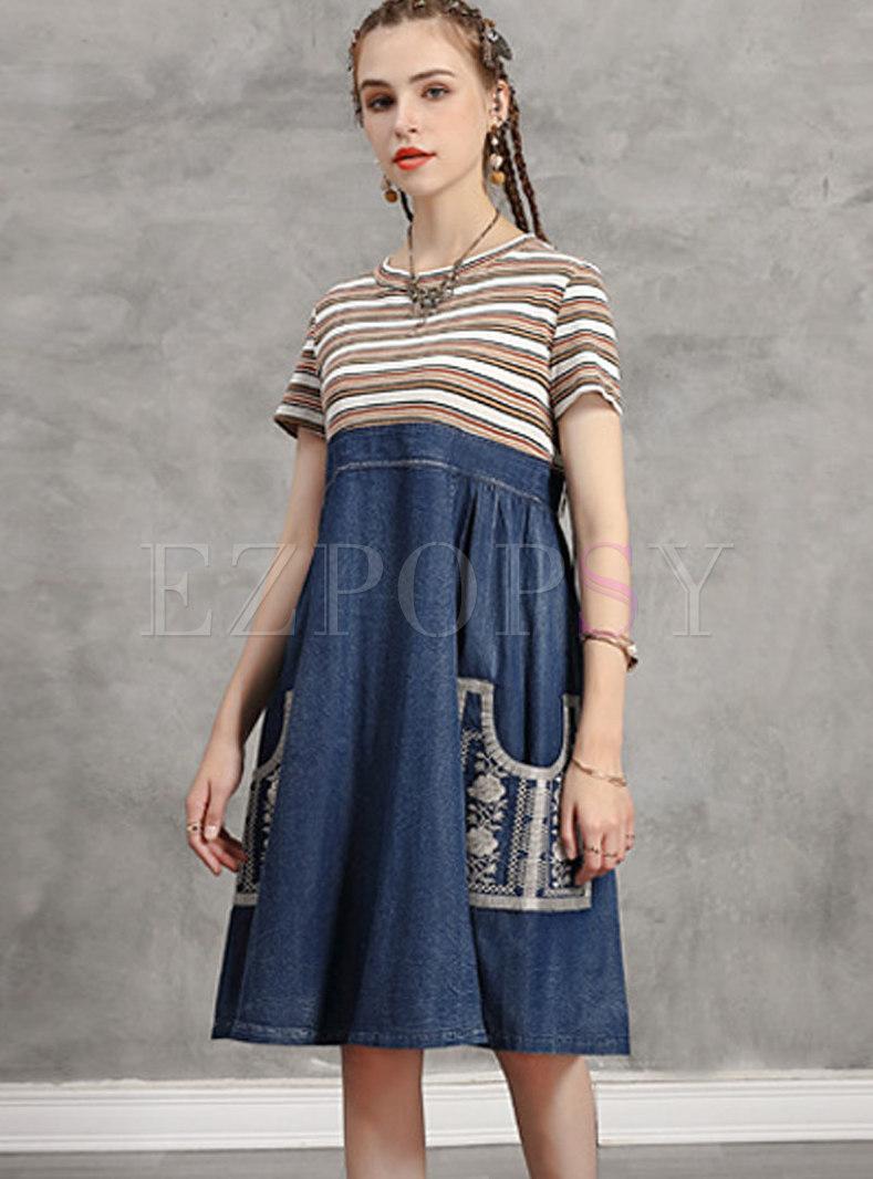Striped Patchwork Denim Embroidered Shift Dress
