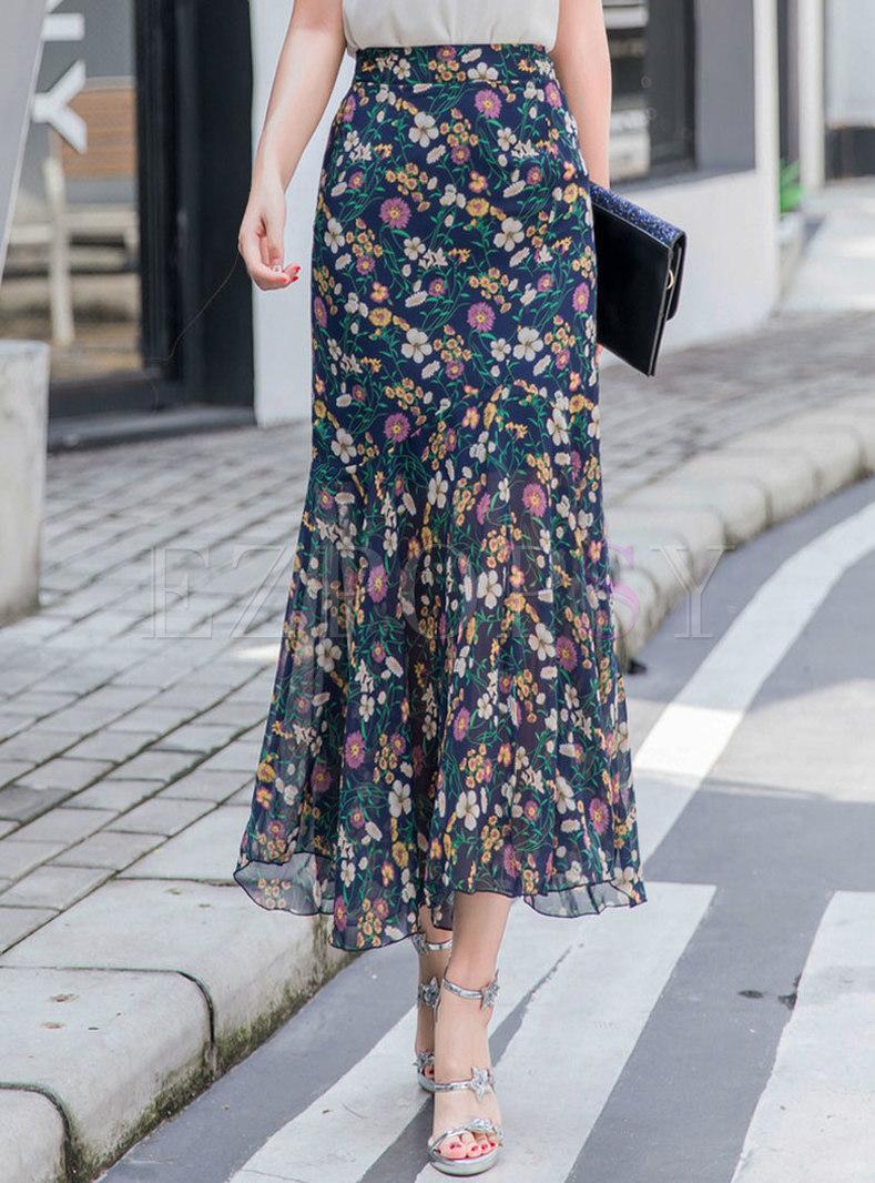 Chiffon Floral High Waisted Peplum Skirt