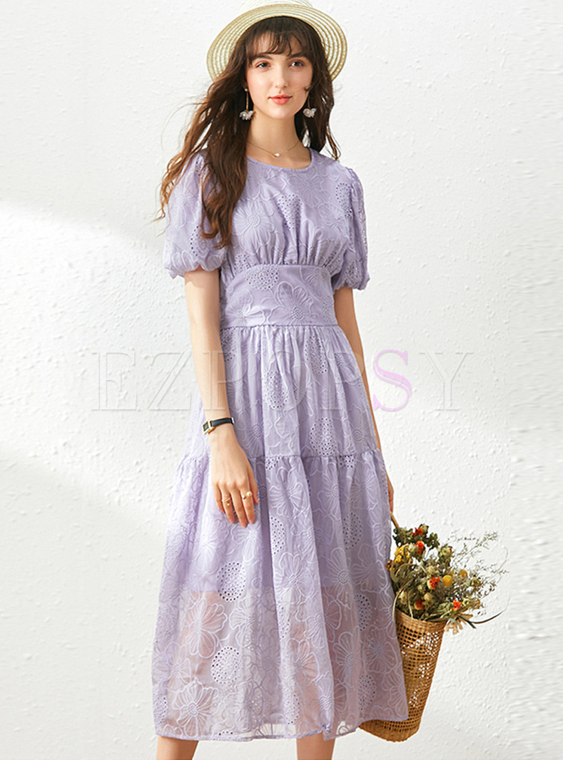 Puff Sleeve Embroidered Empire Waist Midi Dress