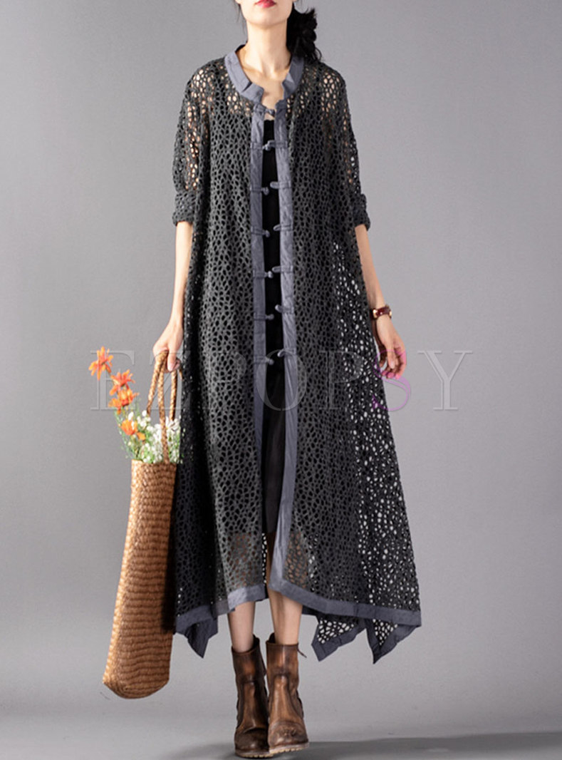 Vintage Single-breasted Openwork Knitted Long Coat