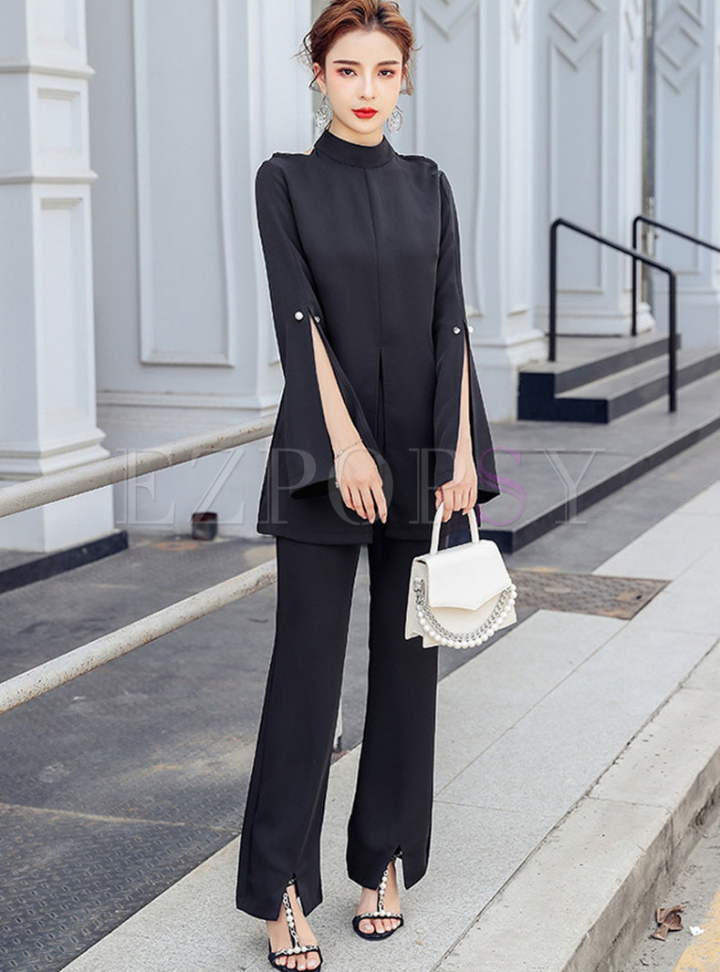 Stand Collar Openwork Slit Pant Suits