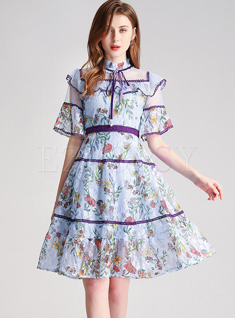 Lace Floral Stand Collar Patchwork Skater Dress