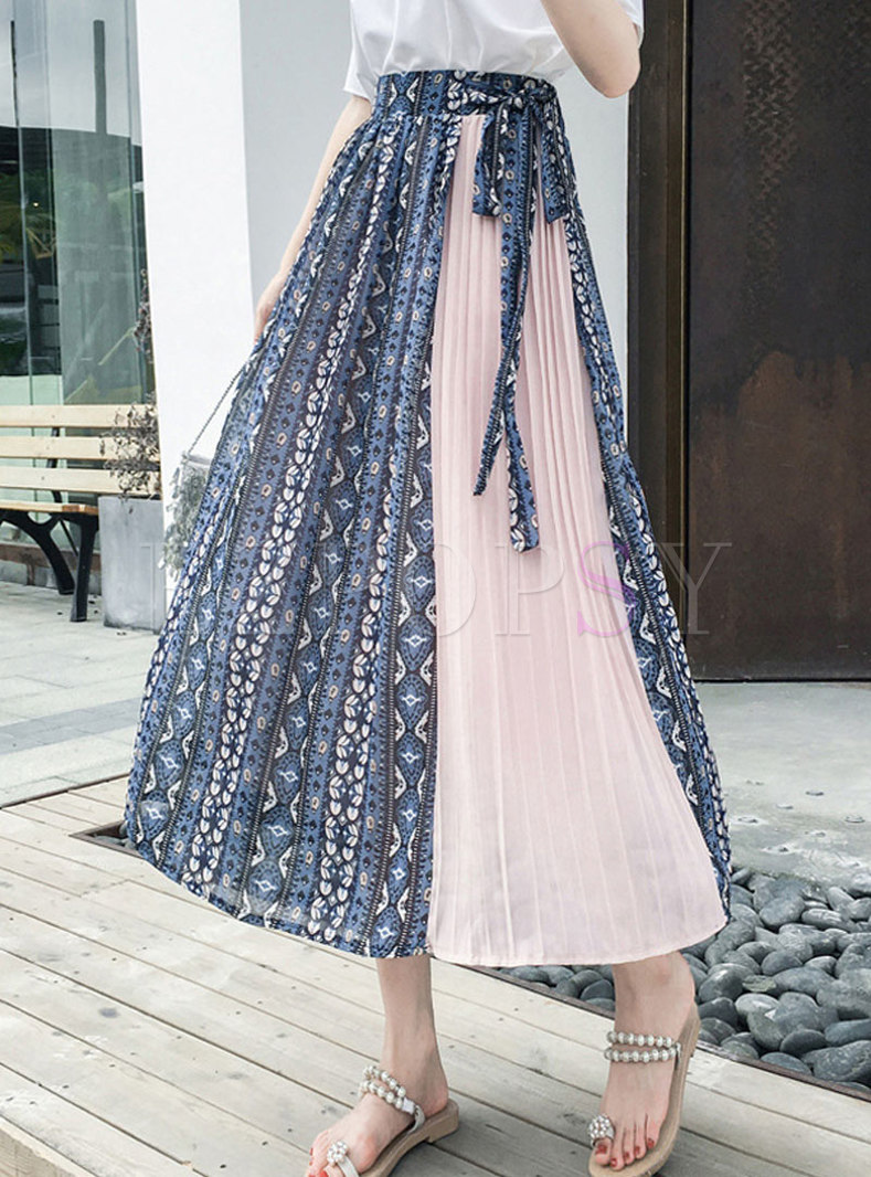 Floral Patchwork Tied Pleated Skirt