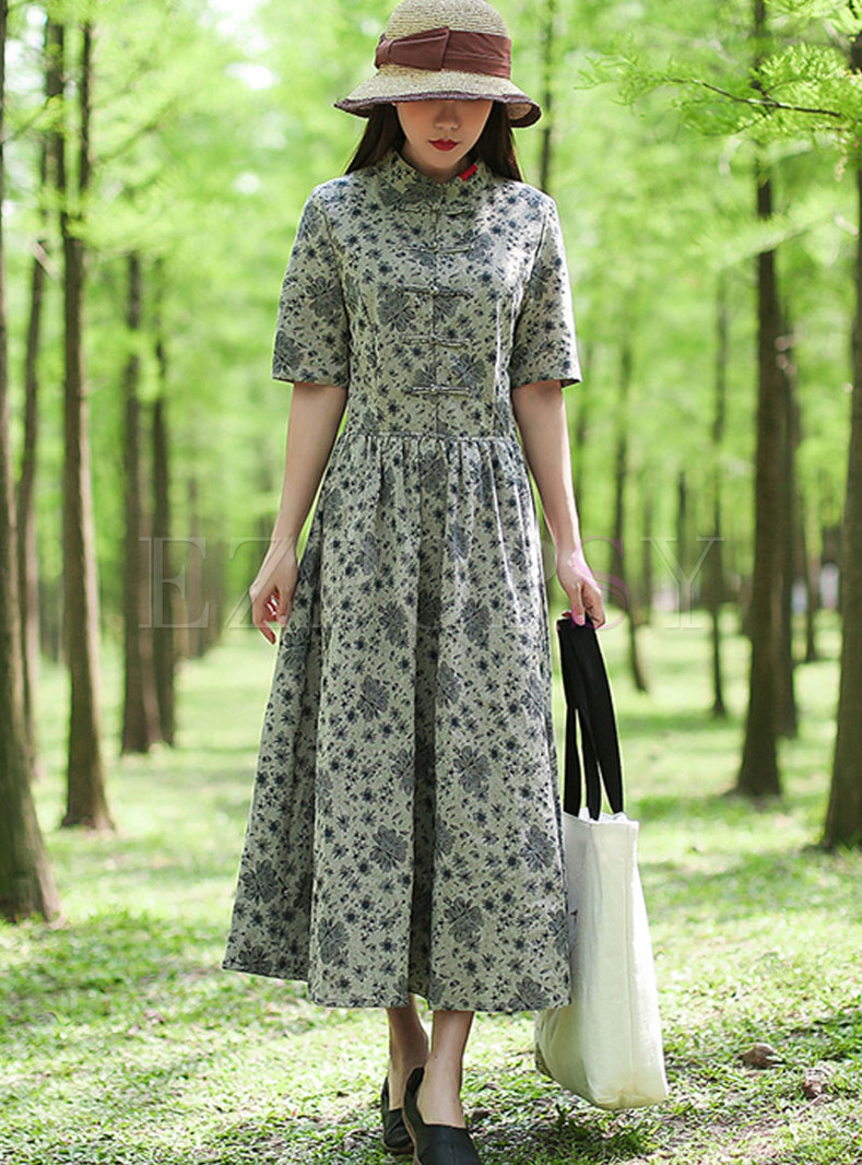 Retro Floral Stand Collar Linen Maxi Dress