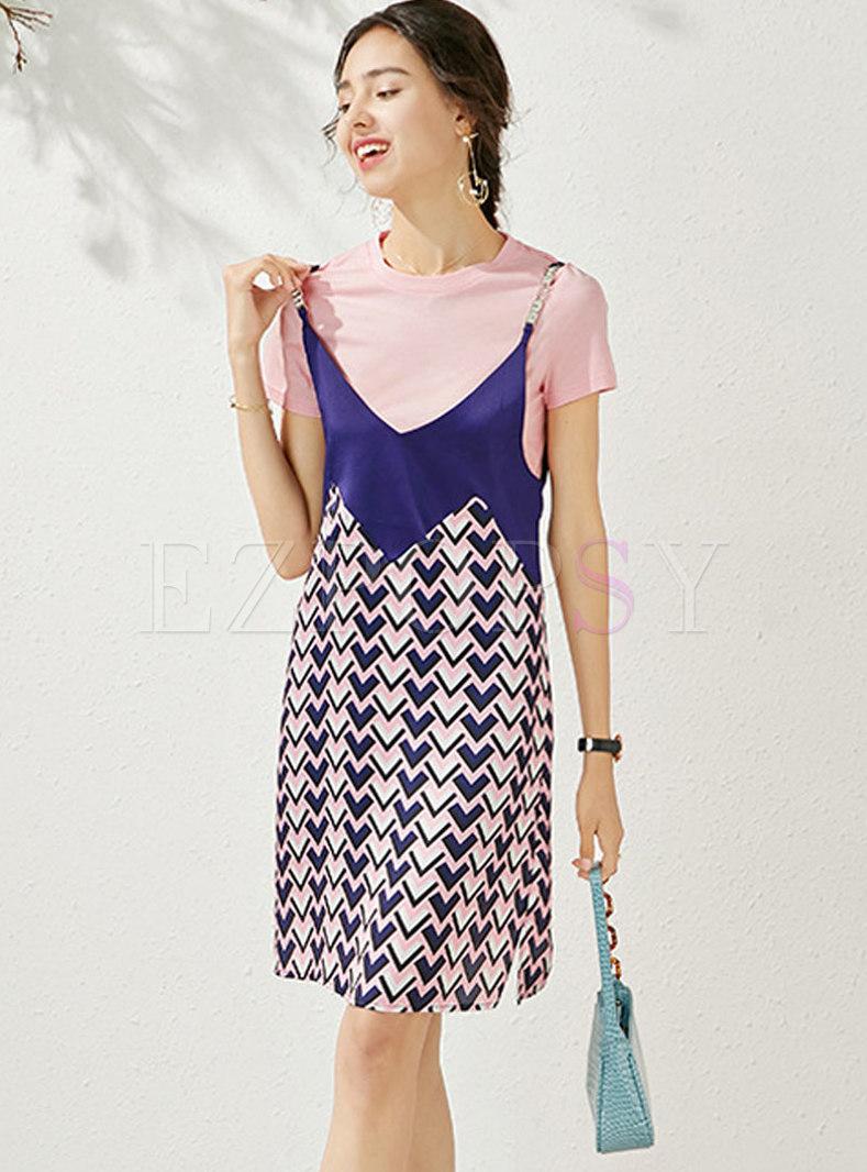 Brief T-shirt & Print Slip Skater Dress