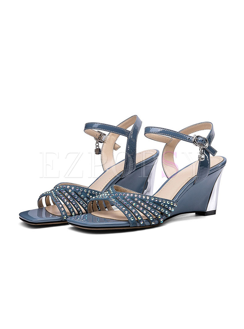 Square Toe Studded Wedge Heel Sandals