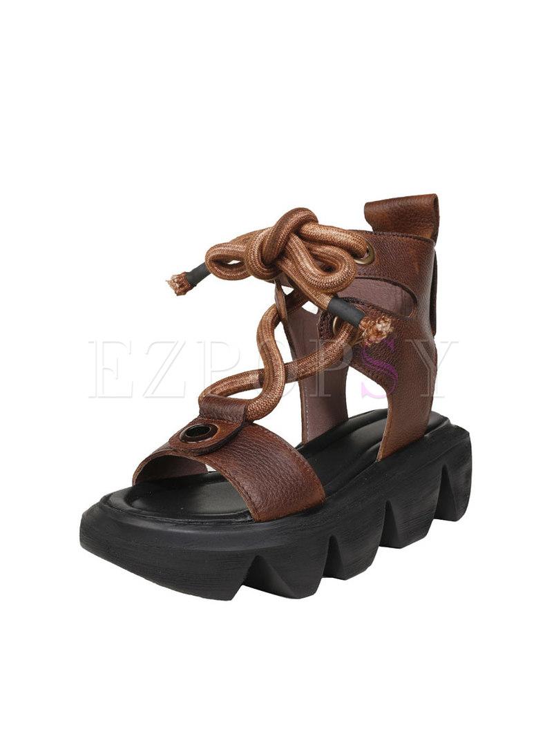 Platform Lace-up Genuine Leather Sandals