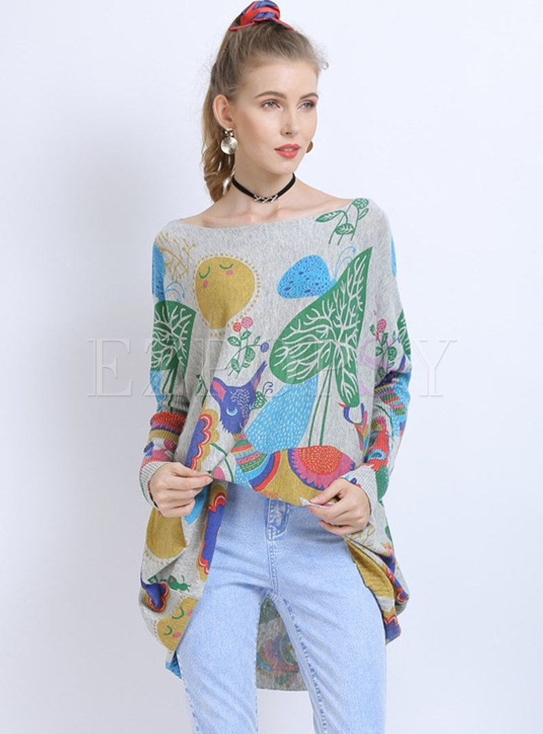 Print Slash Neck Bat Sleeve Sweater