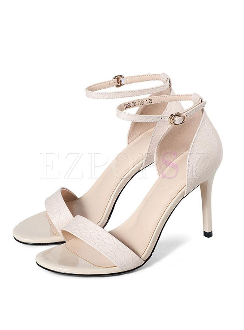 Round Toe Thin Heel Buckle Sandals