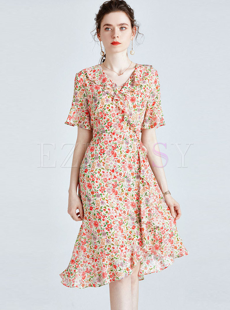Floral Falbala Silk Bodycon Peplum Dress
