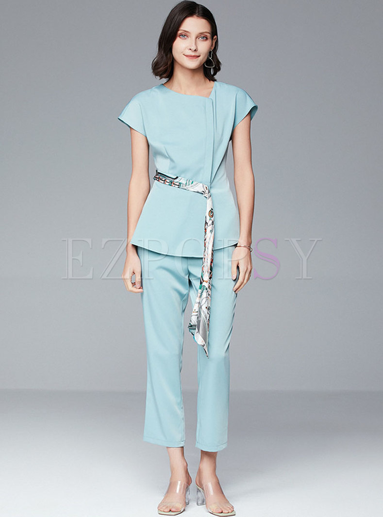 Short Sleeve Pullover Asymmetric Pant Suits