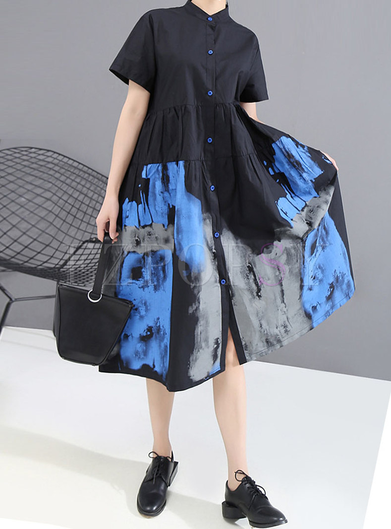 Plus Size Lapel Print Loose Shirt Dress