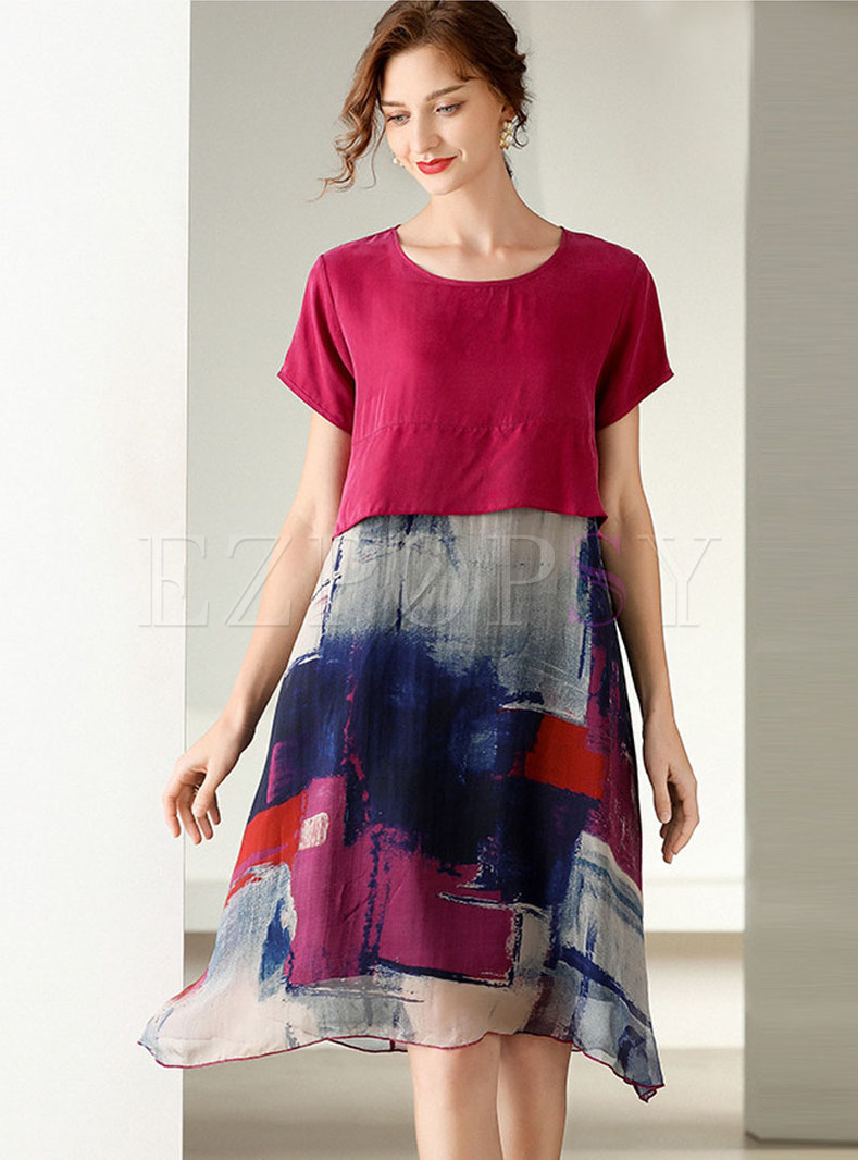 Color-blocked Crew Neck Patchwork Shift Dress