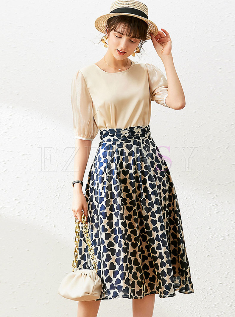 Crew Neck Pullover High Waisted Print Skirt Suits