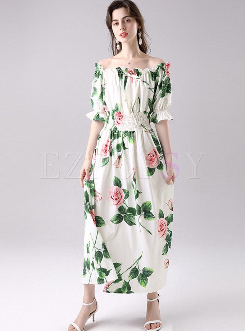 Off Shoulder Bowknot Print Beach Maxi Dress