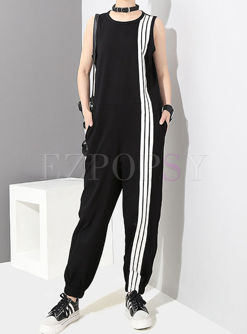 Black Crew Neck Sleeveless Striped Casual Jumpsuits