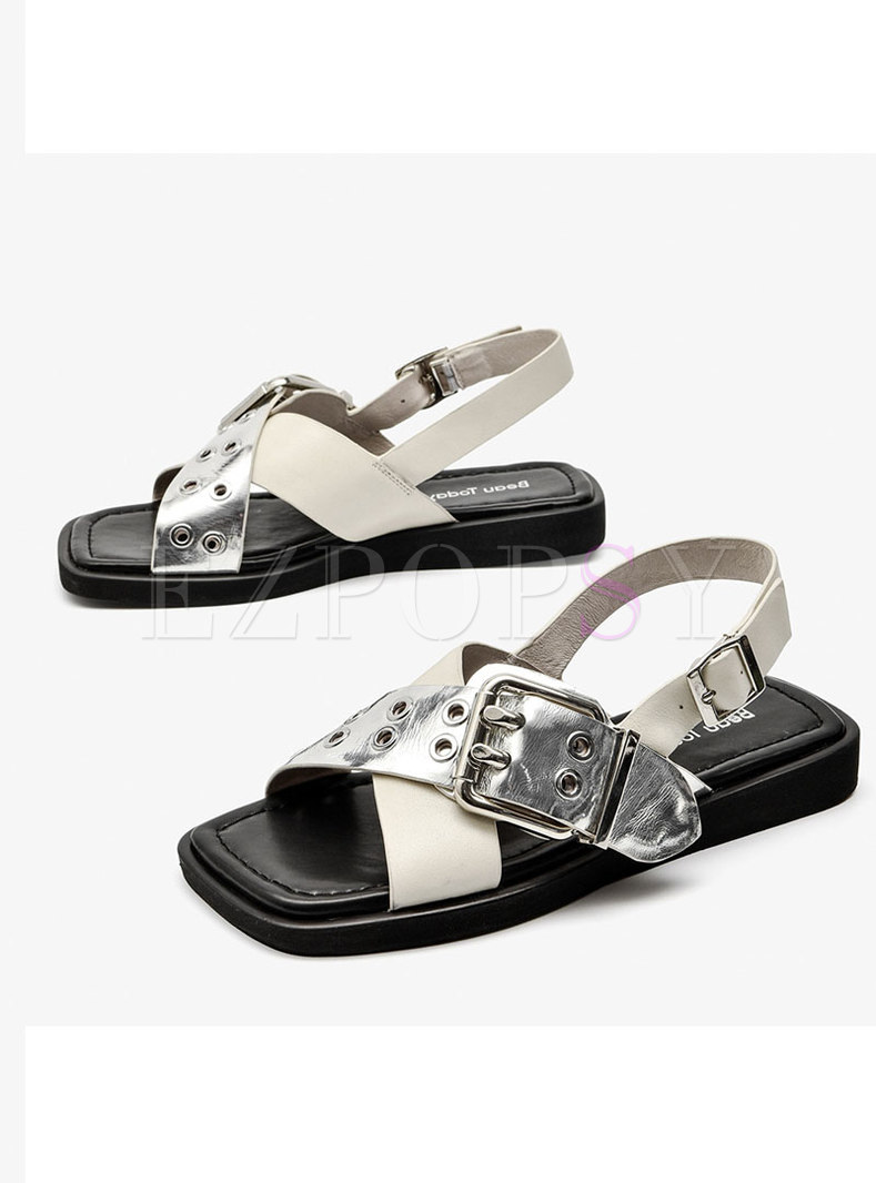 Square Toe Leather Buckle Flat Sandals