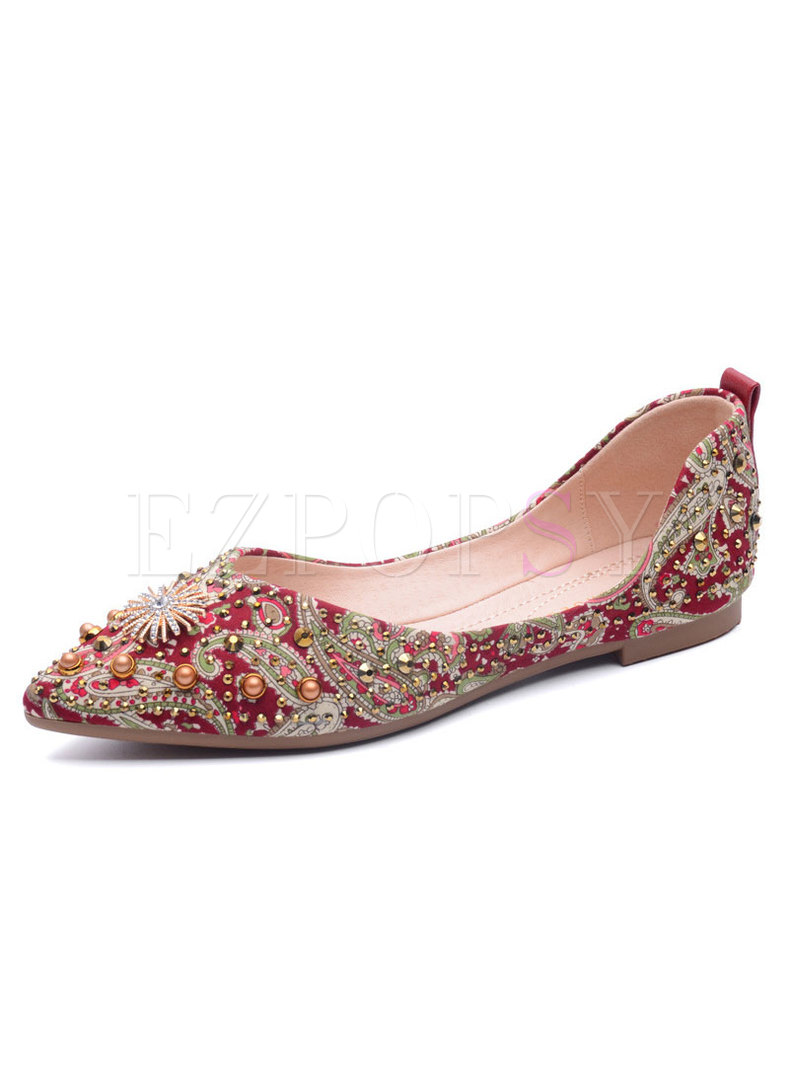 Pointed Toe Print Bead Wedding Flats