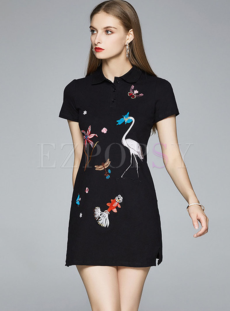 Turn Down Collar Embroidered A Line Mini T-shirt Dress
