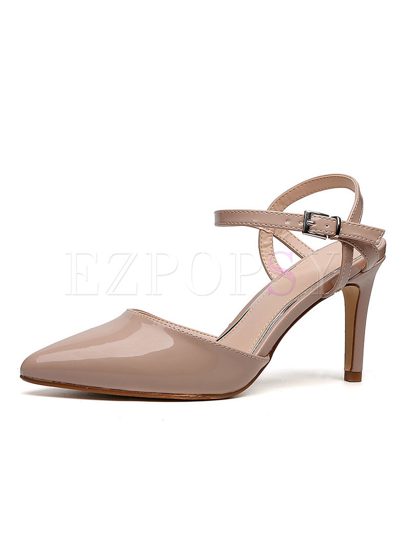 Pointed Toe Openwork Leather Buckle Heels