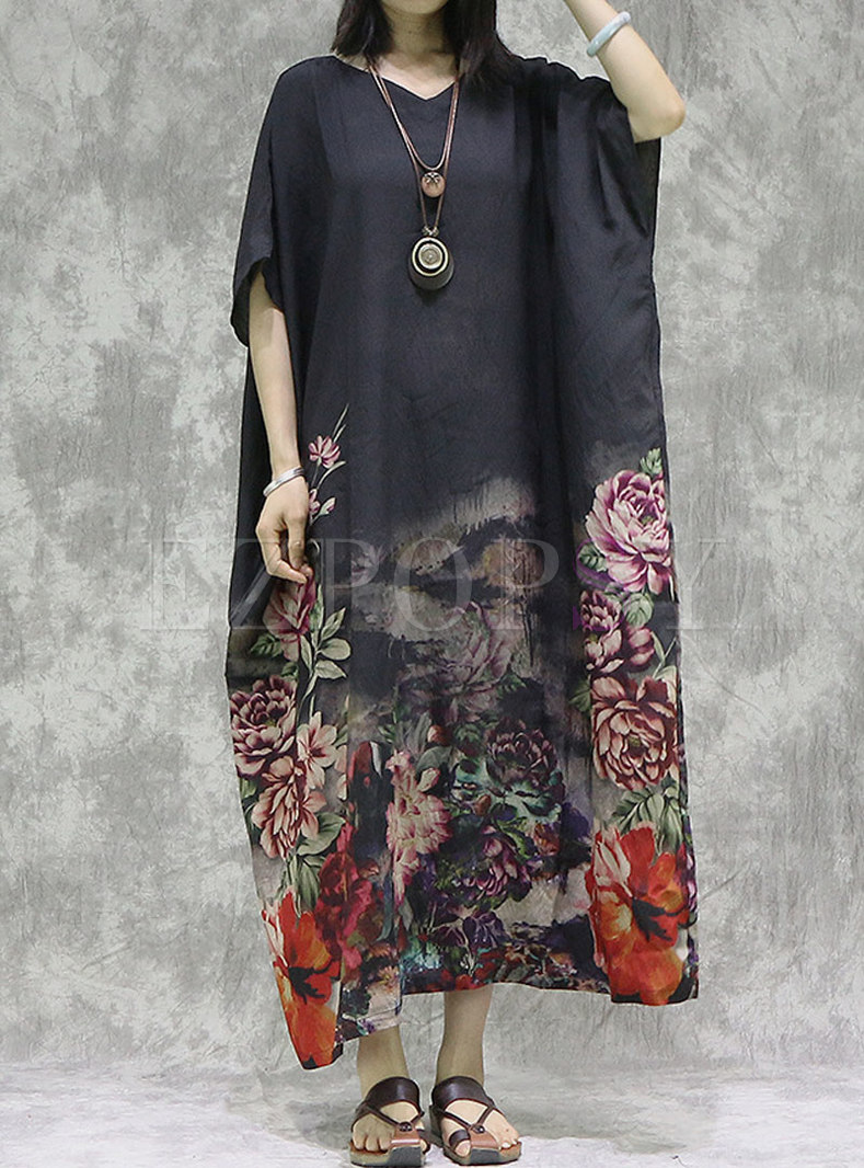 Black Print V-neck Loose Shift Maxi Dress