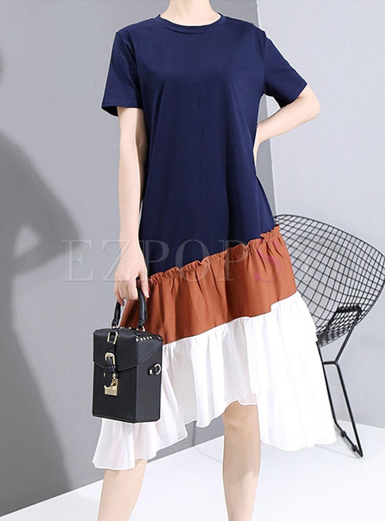 Short Sleeve Striped Ruffle Patchwork T-shirt Dress