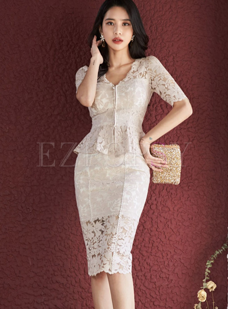 Lace Openwork Ruffle Bodycon Skirt Suits